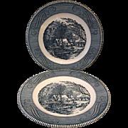 SOLD Currier Ives Old Grist Mill Blue Dinner Plates Royal China Green Backstamp