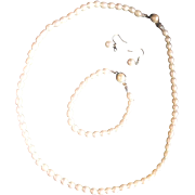SALE Ringed Circle Freshwater Pearls Necklace Bracelet Earrings Set Milk White South Seas Tahi