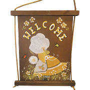 Welcome Sign Wood Hand Painted Folk Art Pioneer Girl Yellow Dress Flowers Rustic Artist Signed