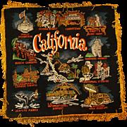 California Hand Painted Black Velvet Souvenir Pillow Case Pillow Cover 1960s Made in Japan Gol