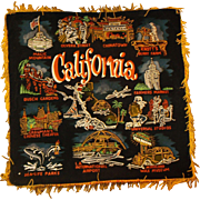 California Hand Painted Black Velvet Souvenir Pillow Case Pillow Cover 1960s Made in Japan ...