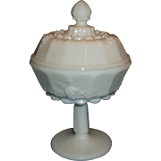 Westmoreland Paneled Grape White Milk Glass Small Compote Candy Dish With Lid