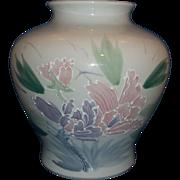 Japan Hand Painted Huge Vase Lavender Pink Flowers Green Leaves White Enamel Moriage Outlines