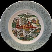 North Carolina Souvenir State Plate Aqua Turquoise Rim Gold Decoration