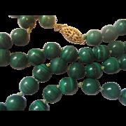 Malachite Green Round Beads Necklace 14K 1/20 GF Clasp