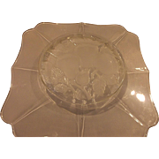 Imperial Glass Hazen Shape Frosted Fruit Intaglio 11 IN Serving Plate Platter
