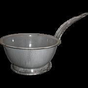 Grey Enamelware Graniteware Strainer Colander Long Handle