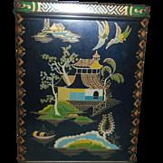 Daher Cobalt Blue Asian Pagoda Oriental Theme Tin Box Hinged Lid Made in England