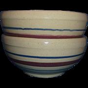 SALE PENDING Robinson Ransbottom Terra Coupe Soup Cereal Bowls Tan Burgundy Blue Stripes