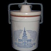 Bicentennial Independence Hall Stoneware Cheese Crock Kaukauna Klub Wisconsin
