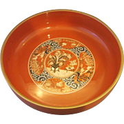 Orange Gold Lacquerware Lacquer Serving Bowl Japan 9 IN