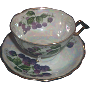Blackberry Raspberry Mother of Pearl Lustre Gilt Tea Cup Saucer Porcelain