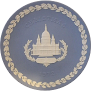 Wedgwood 1972 Christmas Blue Jasperware Plate St Pauls Cathedral