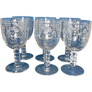 Fostoria Manor Etch Square Stem 6003 Water Goblets Set of 6