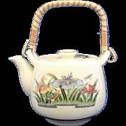 Small Japan Ceramic Teapot Iris Decoration Bamboo Handle 2 Cup