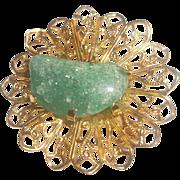 SALE Green Stone Nugget Gold Tone Filigree Pin Brooch