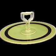 Jeannette Glass Center Handle Tidbit Tray Art Deco Reverse Painted Gold Black Green Depression