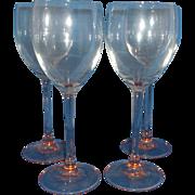 SALE Luminarc Rose Pink Goblets Stems Set of 4 Arcoroc France Glass Claret Wine 7 3/4