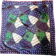 Blue Green Crazy Quilt Plaid Floral Print Polyester Scarf Made in Italy