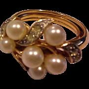 Avon Evening Sophistication Faux Pearl Rhinestones Cluster Dinner Ring 1971