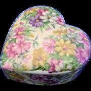 SALE Nikoniko Hand Painted Floral Porcelain Heart Trinket Box Japan