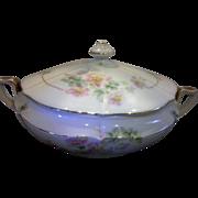 Antique Czecho-Slovakia Czechoslovakia Bohemia Porcelain Hand Painted Covered Vegetable Dish