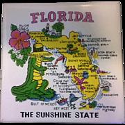Florida Map Souvenir Tile Trivet Ceramic Made in Philippines