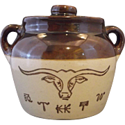 Western Stoneware Monmouth Pottery Texas Longhorn Small Bean Pot
