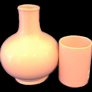 Japan Pink Glazed Pottery Tumble Up Carafe Tumbler Bedside Water Set