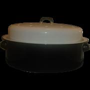 SOLD Black White Enamel Roaster Roasting Pan Vintage Domed Lid Large Oval
