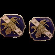 Blue Enamel Knight Charger Shield Earrings