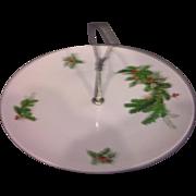 Seltmann Weiden Bavaria W Germany Holly Christmas Tidbit Porcelain Plate Center Handle