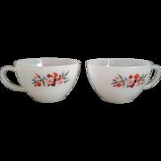 Primrose Tea Cups Fire-King Anchor Hocking Milk Glass Pair