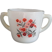 Primrose Open Sugar Bowl Anchor Hocking Fire-King Milk Glass Red Pink Flowers