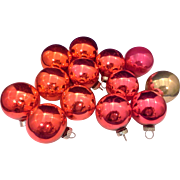 Shiny Brite Red Pink Gold Ball Blown Glass Ornaments 14 1 5/8 IN