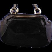 Crown Lewis Black Patent Purse Handbag Curvy Shape Gold Tone Hardware