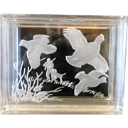 Reverse Carved Lucite Trinket Box Game Birds Pheasant Quail Hunting