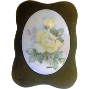 SOLD Porcelain Plaque Oval Hand Painted Yellow Roses Framed Moss Green Velvet