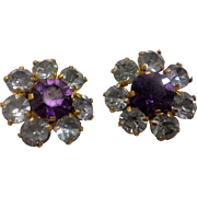 SALE Austrian Crystal Rhinestone Earrings Ice Blue Amethyst Purple Gold Tone Clips