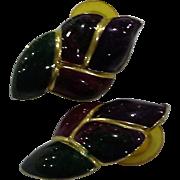 Jewel Tone Flame Twisted Enamel Earrings Made in USA Burgundy Green