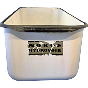Norge Hydrovoir White Enamelware Black Trim Refrigerator Dish
