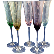 SALE Etched Tulips Colored Champagne Flutes Glass Pink Green Blue Amber Purple