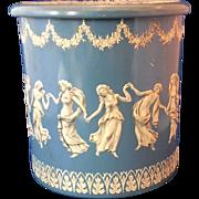 Blue White Embossed Round Tin Made in Holland Jasperware Look Wedgwood Style