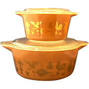 Pyrex Early American Gold on Brown Casseroles 473 475 Sizes Clear Lids Cinderella Handles
