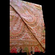Paisley Shawl Scotland Silk Wool Blend 1800s 64 X 138 IN Red Orange Brown Blue Black Cream