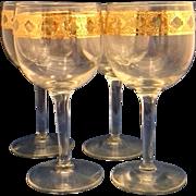 SOLD Culver Valencia Wine Glasses Set of 4 Gold Filigree Green Diamonds