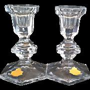 Beyer Bleikristall Lead Crystal Regency Candlesticks Candle Holders 5 1/4 IN
