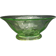 Green Depression Glass Paneled Optic Flared Rim Bowl Footed Floral Engraved