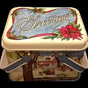 Cheinco Christmas Greetings Lithographed Tin Basket Winter Scene