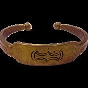 Brass Cuff Bracelet Engraved Ethnic Tribal Look